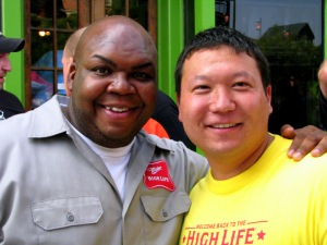 With Windell Middlebrooks, the Miller High Life Delivery Guy, at an IAVA event in Baltimore