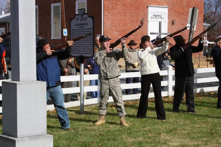 Stanardsville Veterans Day 2011 - Legion Post 128 rifle squad's 21-gun salute